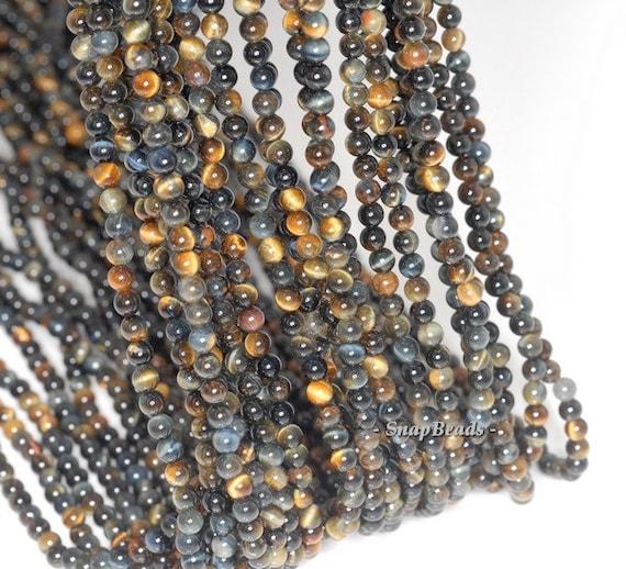 3MM Blue Tiger Eye / Hawk Eye Gemstone Round 3MM Loose Beads 16 inch Full Strand (90113625-107 - 3mm D)