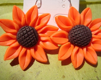 Sunflower (Orange) Earrings