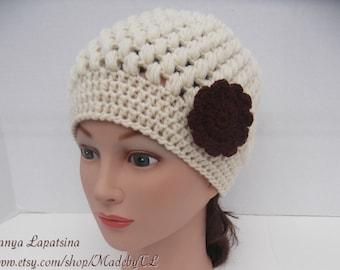 Clearance. Puff-stitch Hat, Crochet Women Hat, Ecru Crochet Hat with Brown Flower