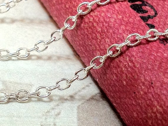 2 mm Silver Plated Cross Chain Findings (.ng)