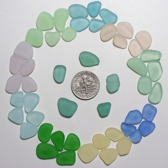 Circle of Colors Teal Cornflower Yellow Jewelry-worthy Genuine Beach Sea Glass Lot (A4) Free US Shipping