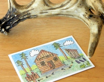 CAMPING ACEO - Colored Pencil and Ink, Folk Art, Hunting Humor, Humorous Artist Trading Card, Original Collectible Art