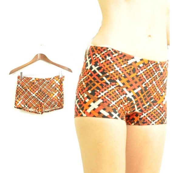 60s MOD BOY SHORTS / rust oranges / crosshatch print / xs s / hiphugger / cute boy leg swim trunks / totally retro