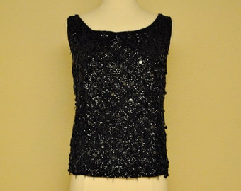 Black Vintage Fully Beaded Tank Blouse - Formal Top Great with Cigarette Pants or Pencil Skirt Size M L