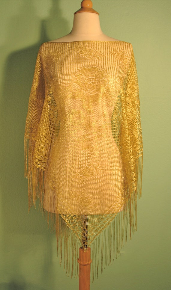 Vintage Gold Fringe Poncho Shawl - Delicate Rose Lace - Very Boardwalk Empire Flapper Girl 1920s 1930s