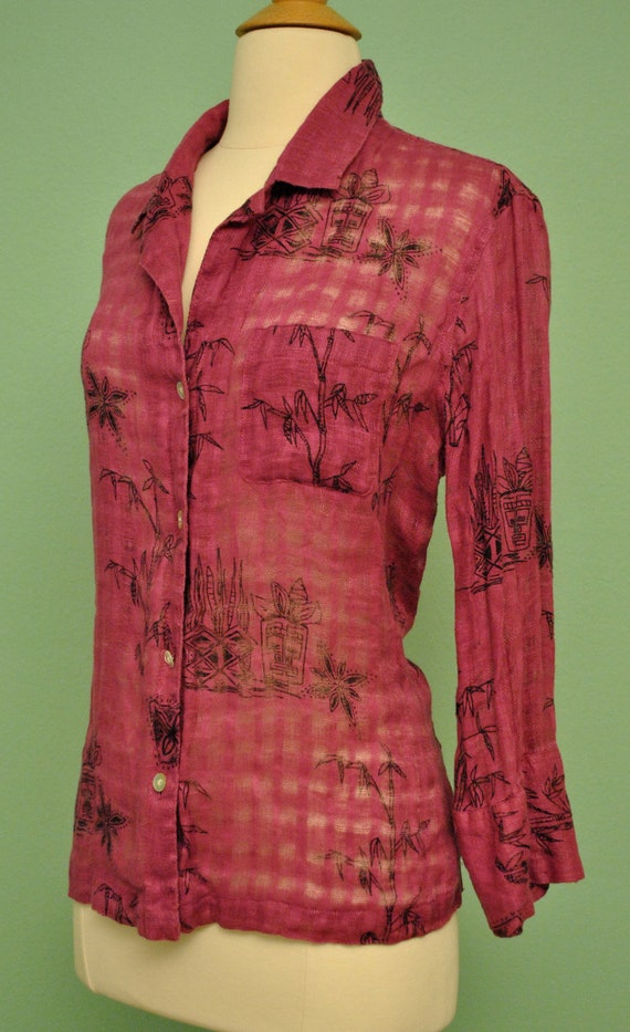 Vintage Pinup Blouse with Tiki Heads - Tropical Button Up for Women 1960s Style
