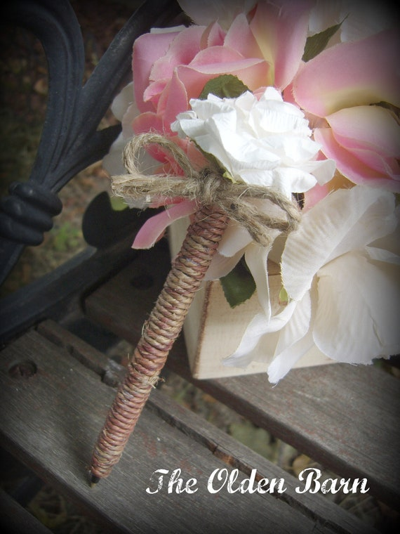 Simply Rustic Wire wrapped Guest book pen with paper rose