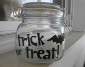 Trick or Treat Glass Jar with Air Tight Sealing Lid small size with Bat Embellishment Can be Personalized