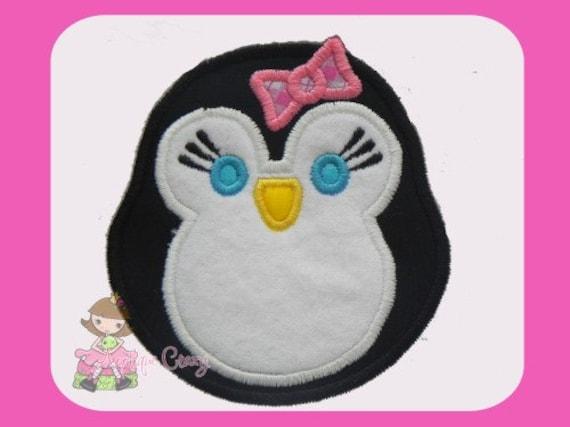 Girly Penguin  Applique design