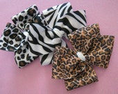 """Momma Eva's -- """"GRAB BAG""""  Simple Animal Print Twist Boutique Hair Bows / 3 Piece Starter Pack // Perfect for Back To School"""