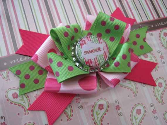 """Momma Eva's -- Layered """"Sweet"""" Girl Fancy Fun Boutique (1 of A Kind ) Hair Bow Design // Large 5inch Design // Ready To Ship"""