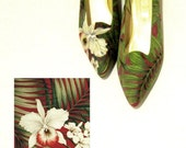 Barkcloth Inspired Hand Painted Pumps shoes womens palm retro vintage