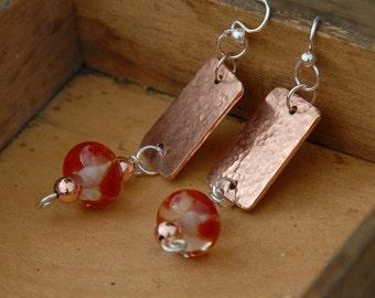 Copper Earrings Glass Bead Earrings Dangle Textured Earrings Hammered Earrings Drop Earrings Modern Earrings
