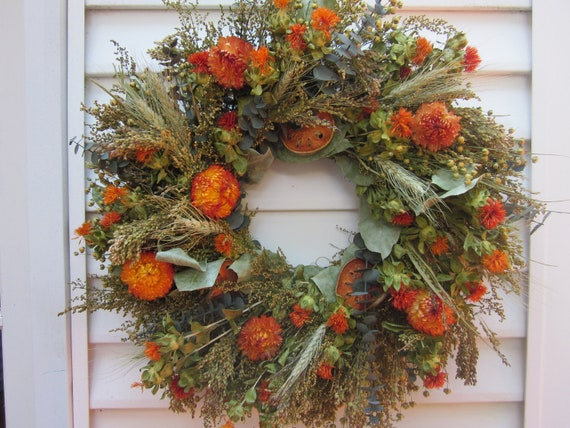 Large Fall Dried Flower Wreath Mixed Flowers In By