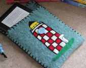 Wool Felted Pouch - Lighthouse