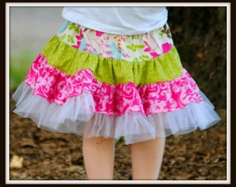 Girls Skirt  Sewing Pattern, INSTANT DOWNLOAD, Toddler , Baby, Girls,  Children, Twirly Swirly Skirt with Headband