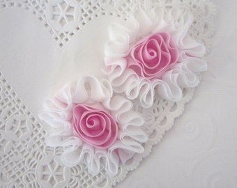 Chiffon Flowers in White and Pink -- 5 pcs