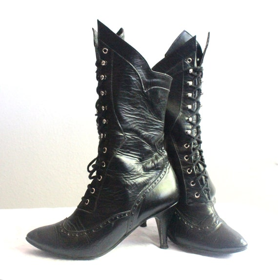 Vintage Victorian Black Leather Lace Up Boots