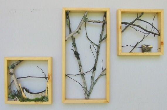 Birch Branch Triptych, canoe, birds, reduced price. woodland.