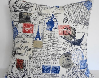 French Postcard  Pillow Throw Cover - Shabby Chic Decorative Traveler Stamp Cushion Cover in Red, White and Blue, Paris, 16 x 16, 18 x 18
