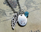 Angel Baby Necklace Hand-Stamped on Nickel Silver Pendant