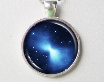 Nebula Necklace- Bow Tie Nebula, Nebulae necklace- Blue- Galaxy Series