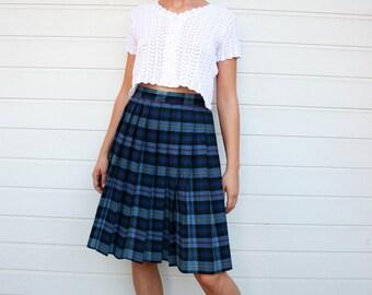 Vintage Plaid Pleated Schoolgirl Skirt