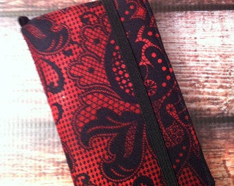 Red and black lace look print iPhone 3, 4, 4S, 5, iPod Touch 4G, 5 wallet with removable gel case