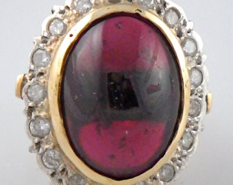 HUGE Antique 14K Yellow Gold Diamond and Pink Tourmaline Ring Size 8