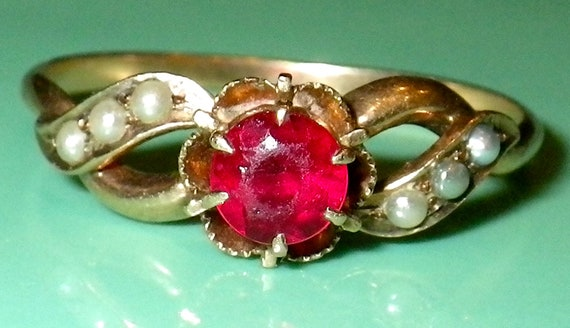 Antique Victorian SOLID 12K Seed Pearl and Paste Ring size 8.5