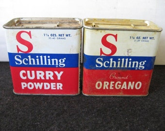 Lot of 2 Vintage Schilling Spice Tins