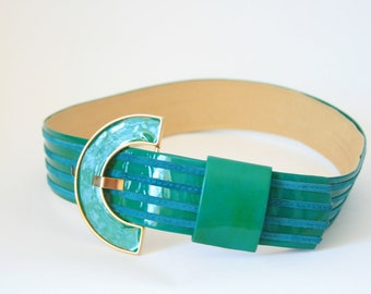 Carlisle Belt -  Green with Gold Buckle - Ladies Small Medium