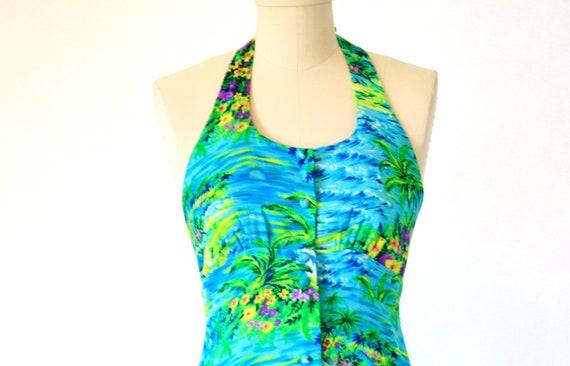BLUE Vintage 70s Kimi's Hawaiian Dress Size 4 Small - 1960's