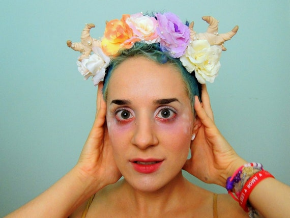 FAWNFLOWER: antler crown with silk flowers and pearls