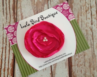 Hairclip - Toddler, Child, Baby - Hot Pink Satin Flower with Pearl Center - READY TO SHIP
