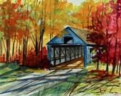 Covered Bridge Original Watercolor Landscape Painting John Williams JMW Portfolio Impressionism