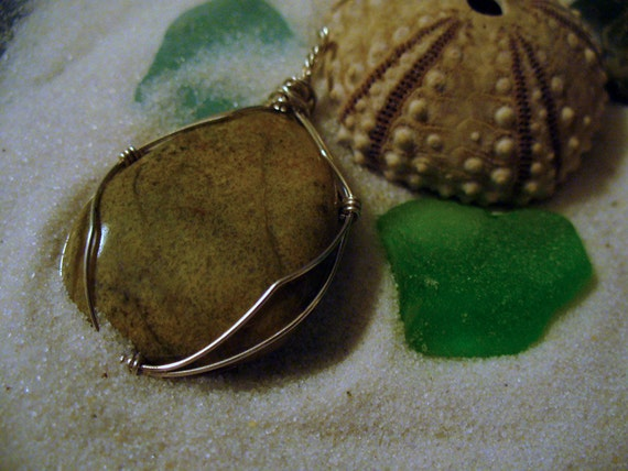Tawny Sand Beach Rock Chalcedony Olive Green Jasper, Sterling Silver Wire-Wrapped Pendant