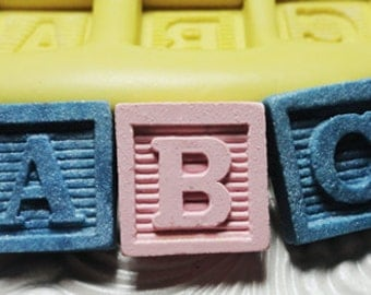 Letter Mold Blocks- Pick Any Letter A to Z Flexible Silicone Push Mold for Resin Wax Fondant Clay Fimo Ice