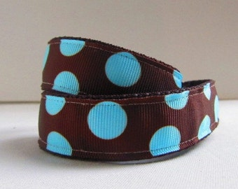 Children's, Toddlers, Baby Belt- Blue Dots on Brown Ribbon