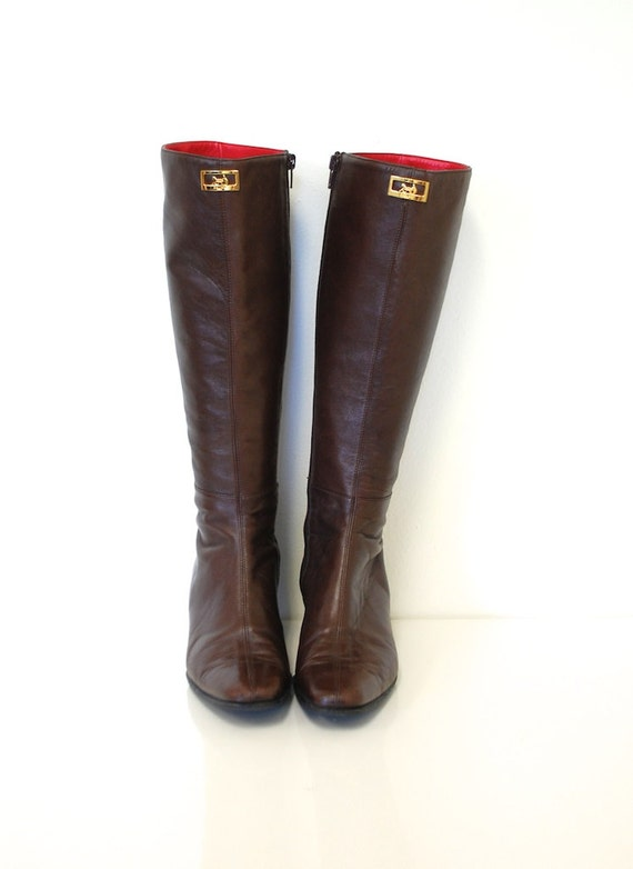 7 / CELINE PARIS Brown Lambskin Leather Knee High Boots