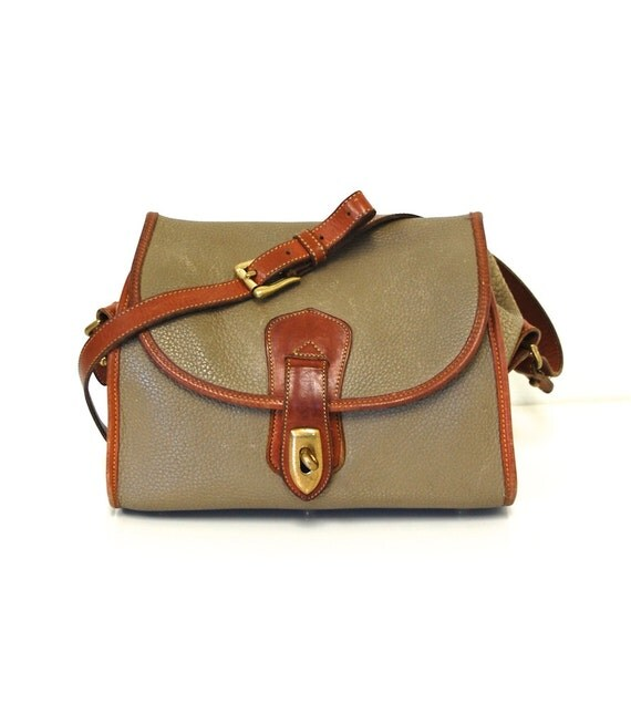 Vintage Dooney & Bourke All Weather Leather Taupe Bag