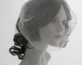 Couture visor  veil, face veil in English tulle and English net - Innocent