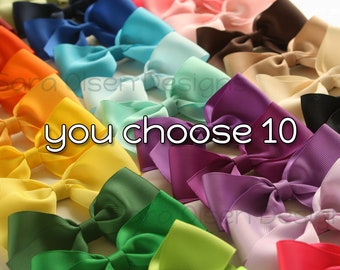 Large Classic Hairbows, You Choose 10, Simple Bows, 4.5 Inch Hairbows, Hair Clips, Custom Color, You Choose Color
