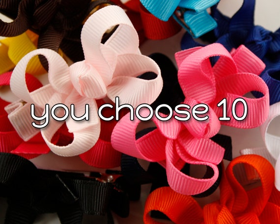 Tiny Hairbows, Set of 10, Custom Bows, 1.5 inches, Baby Boutique Hairbows, You Choose Color, Baby Hairbows