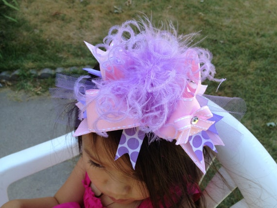 Pink and Lavender- Over The Top Boutique Hair Bow With Matching Headband