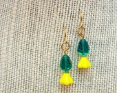 Yellow Tulip Earrings with Teal Leaf Beads