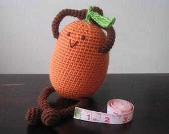 CROCHET PATTERN - Happy Kumquat Plush Amigurumi Doll Stuffed Fruit Toy Food Geekery Children Orange Citrus Baby Boy Girl tutorial PDF