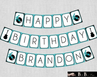 Rock & Roll Music Birthday Party Banner- Printable