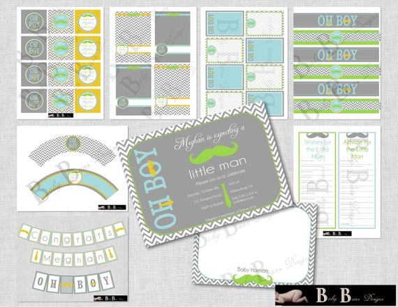 Little Man Moustache and Tie Baby Shower (gray & blue)- Digital Party Pack- PRINTABLE