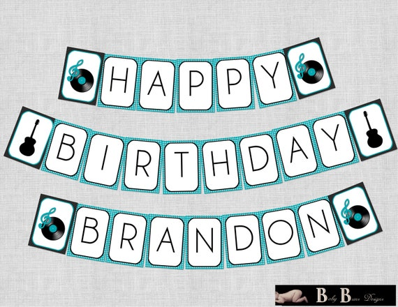 Rock & Roll Music Birthday Party Banner- Printable or Shipped